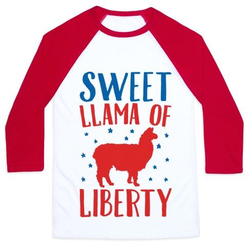 Sweet Llama of Liberty  Baseball Tee