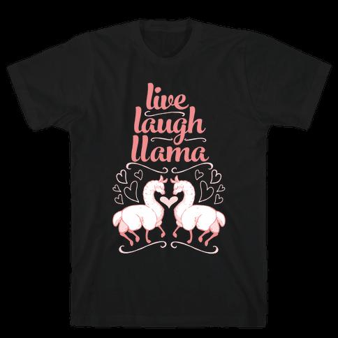Live, Laugh, Llama Mens T-Shirt