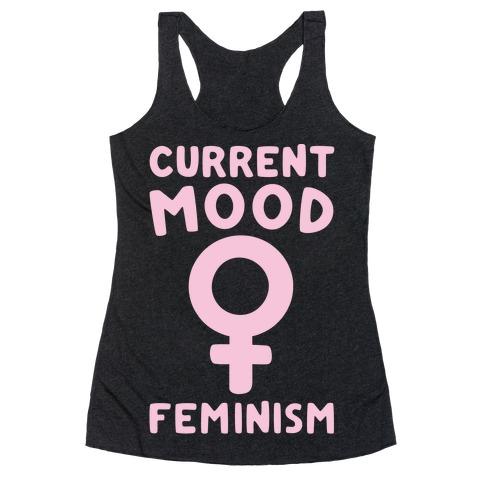 Current Mood Feminism White Print Racerback Tank Top
