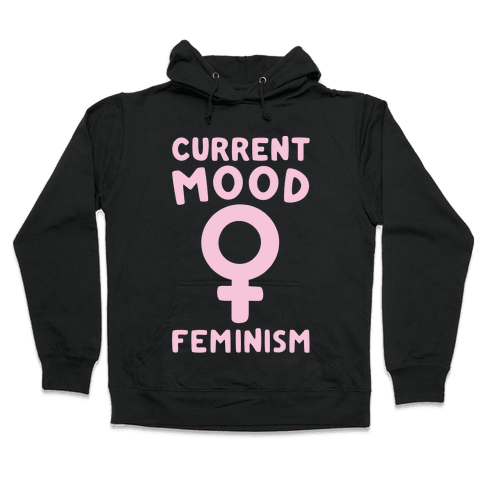 Current Mood Feminism White Print Hooded Sweatshirt