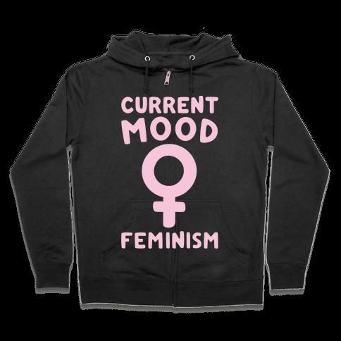 Current Mood Feminism White Print Zip Hoodie