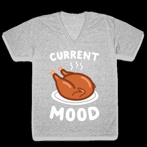 Current Mood Turkey (White) V-Neck Tee Shirt