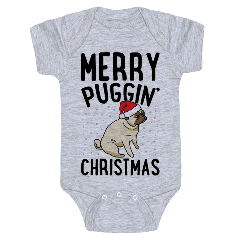 Merry Puggin' Christmas Pug  Baby Onesy