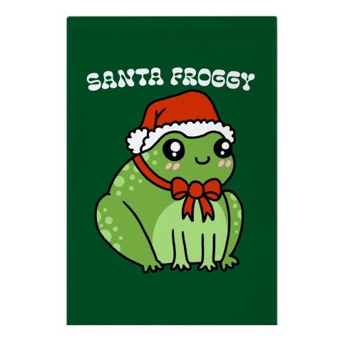 Santa Froggy Garden Flag