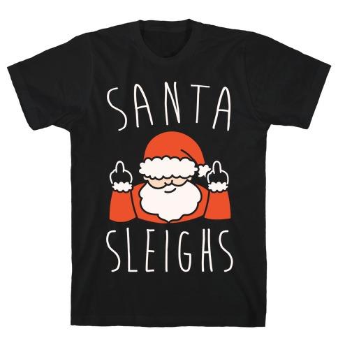 Santa Sleighs Parody White Print Mens T-Shirt