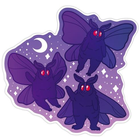 Chubby Mothman Nighttime Pattern Die Cut Sticker
