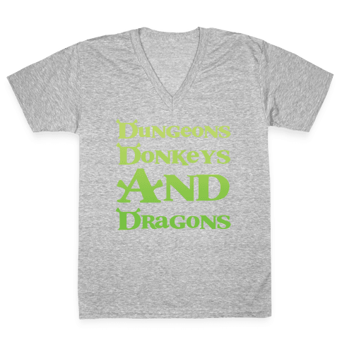 Dungeons, Donkeys and Dragons V-Neck Tee Shirt