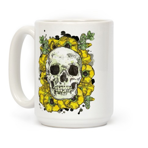 Skull on a Bed of Poppies Yellow Coffee Mug