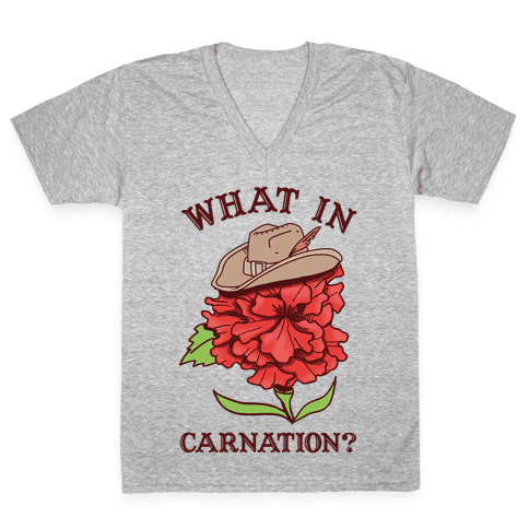 What In Carnation? V-Neck Tee Shirt