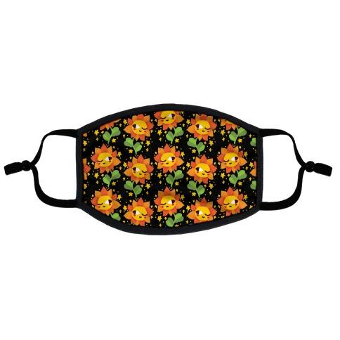 Winky Flower Pattern Flat Face Mask