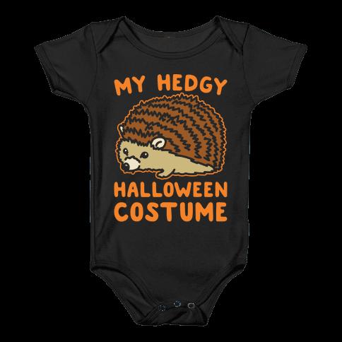 My Hedgy Halloween Costume Hedgehog White Print Baby Onesy