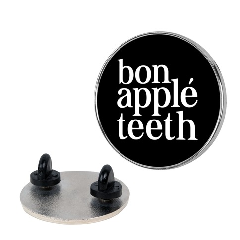 Bone Apple Teeth Parody White Print Pin
