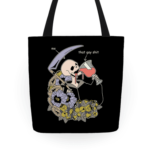 Skeleton Drinking Wine Tote