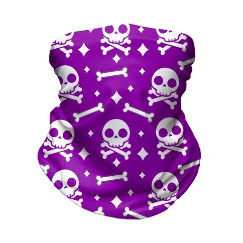 Cute Skull N' Bones Pattern (Purple) Neck Gaiter