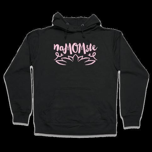 NaMOMste Yoga Mom Parody White Print  Hooded Sweatshirt