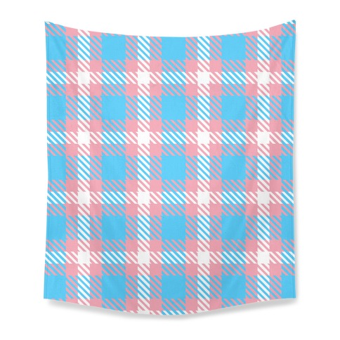 Trans Pride Flag Plaid Tapestry