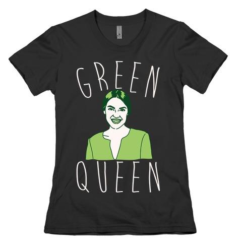 Green Queen AOC White Print Womens T-Shirt