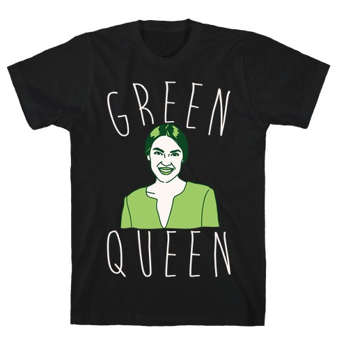 Green Queen AOC White Print T-Shirt