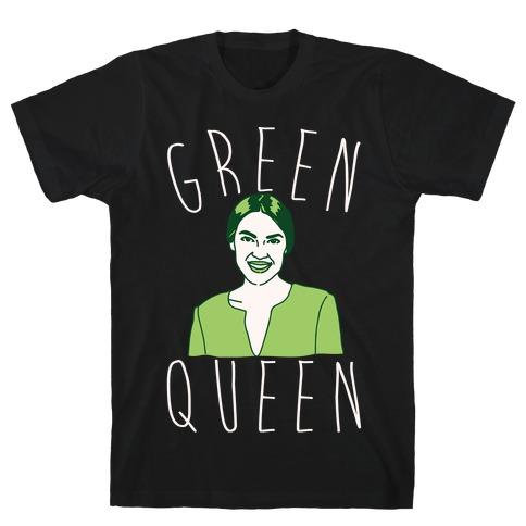 Green Queen AOC White Print T-Shirt
