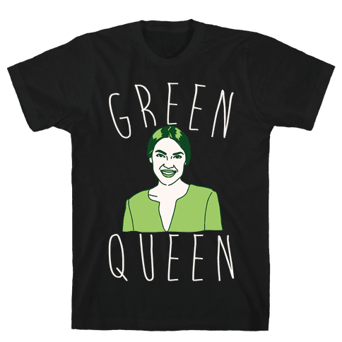 Green Queen AOC White Print Mens/Unisex T-Shirt