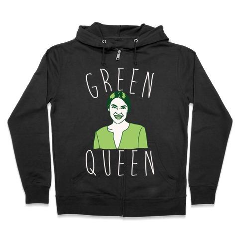 Green Queen AOC White Print Zip Hoodie
