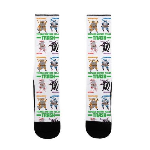Teenage Mutant Ninja Trash TMNT Parody Sock