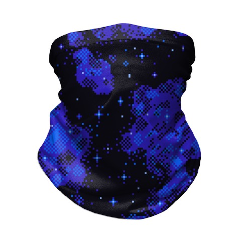 Pixelated Blue Nebula Neck Gaiter