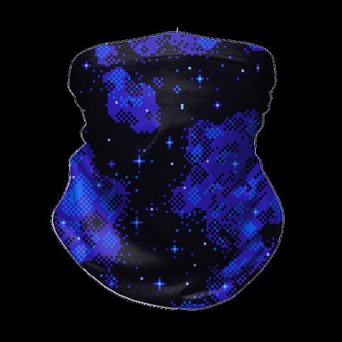 Pixelated Blue Nebula Neck Gaiter