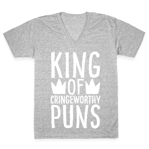King of Cringeworthy Jokes White Print V-Neck Tee Shirt