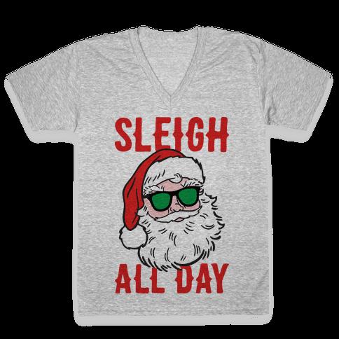Sleigh All Day Santa V-Neck Tee Shirt