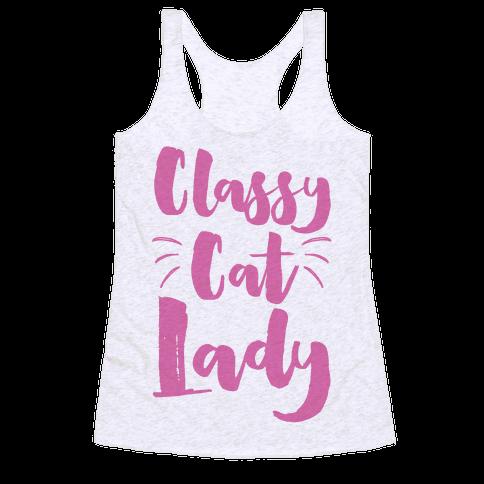 Classy Cat Lady Racerback Tank Top