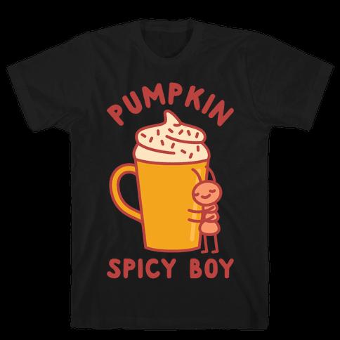 Pumpkin Spicy Boy wht Mens T-Shirt