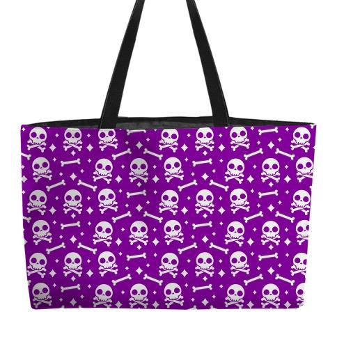 Cute Skull N' Bones Pattern (Purple) Weekender Tote