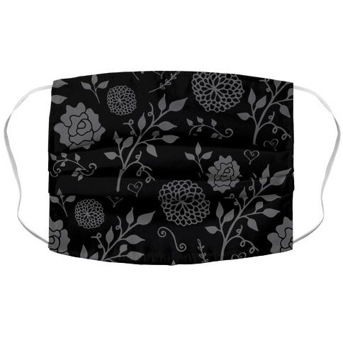 Black Subtle Floral Pattern Face Mask