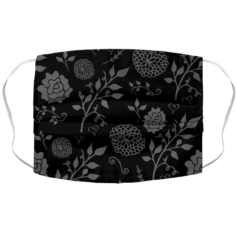 Black Subtle Floral Pattern Face Mask Cover