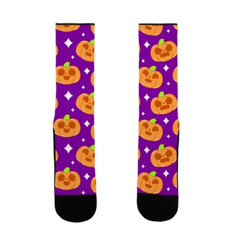 Kawaii Pumpkins Pattern Orange Sock