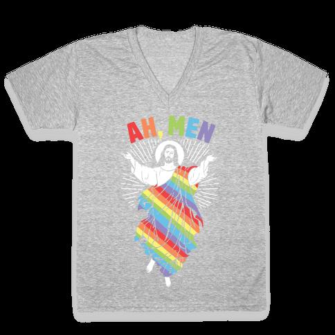 Ah, Men Gay jesus V-Neck Tee Shirt