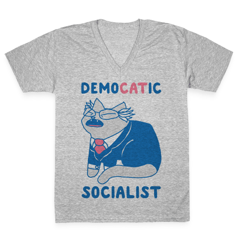 DemoCATic Socialist V-Neck Tee Shirt