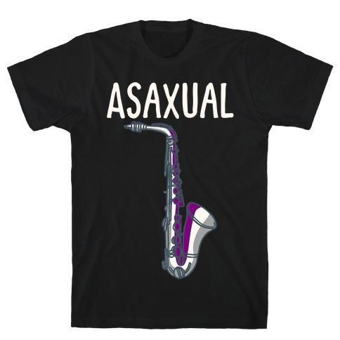 Asaxual White Print T-Shirt