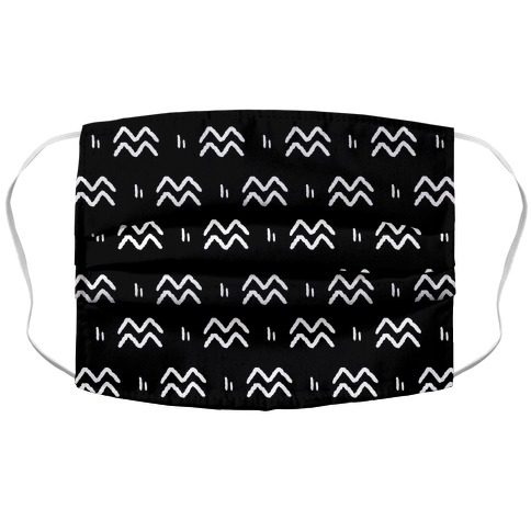 Aquarius Symbol Pattern Black and White Face Mask
