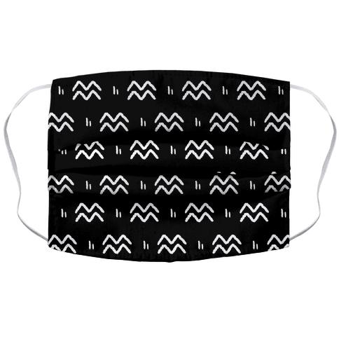 Aquarius Symbol Pattern Black and White Face Mask