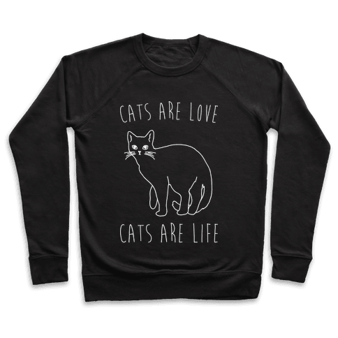 Cats Are Love Cats Are Life White Print Pullover