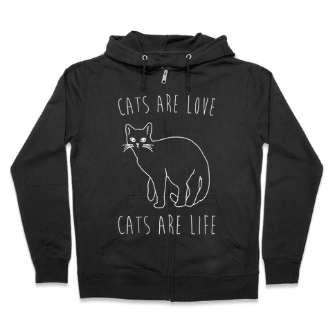 Cats Are Love Cats Are Life White Print Zip Hoodie