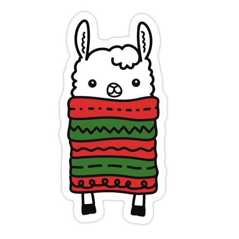 Long Llama Scarf Die Cut Sticker