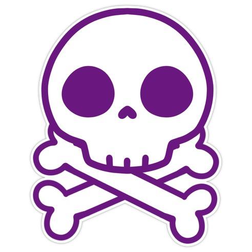 Kawaii Purple Skull Die Cut Sticker