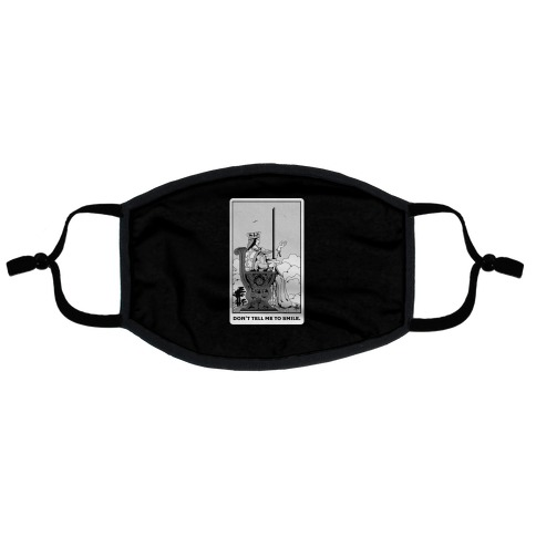 Don't Tell Me To Smile (Queen Of Swords Tarot) Flat Face Mask