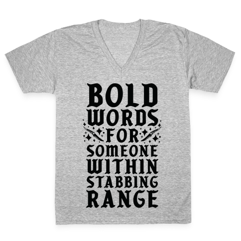 Bold Words For Someone Within Stabbing Range V-Neck Tee Shirt