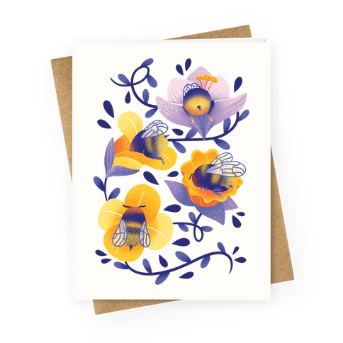 Sleepy Bumble Bee Butts Floral Greeting Card