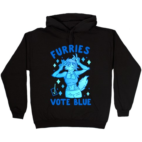 Furries Vote Blue Hooded Sweatshirt