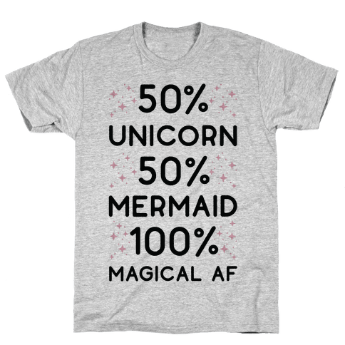 50% Unicorn 50% Mermaid Mens T-Shirt